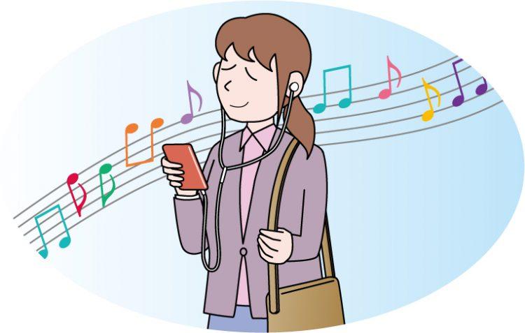 音楽を聴いてリラックスしているイラスト