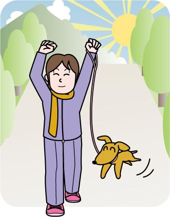 早朝に犬の散歩をしているイラスト