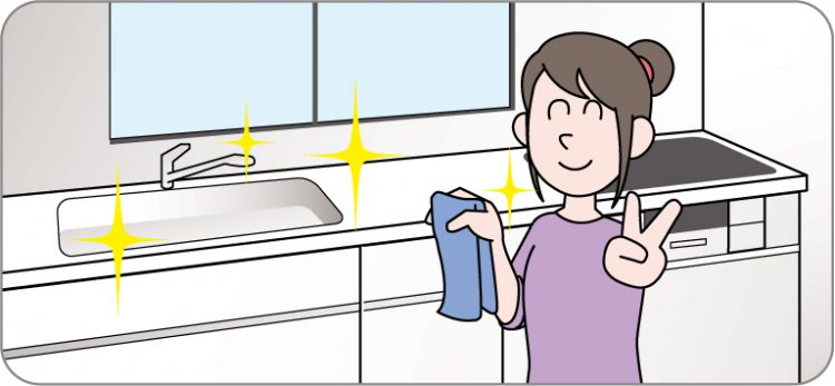 キッチンを掃除しているイラスト